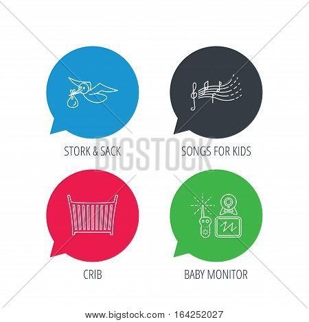 Colored speech bubbles. Baby monitor, crib bed and songs for kids icons. Stork and sack linear sign. Flat web buttons with linear icons. Vector