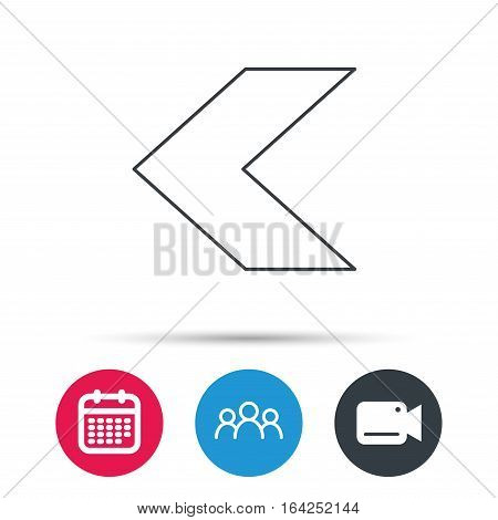 Back arrow icon. Previous sign. Left direction symbol. Group of people, video cam and calendar icons. Vector