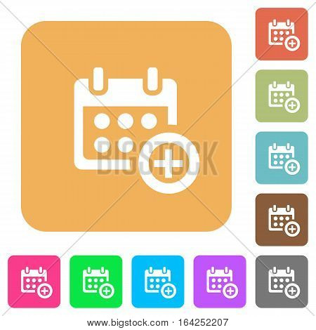 Add to calendar flat icons on rounded square vivid color backgrounds.