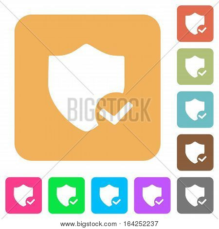 Protection ok flat icons on rounded square vivid color backgrounds.