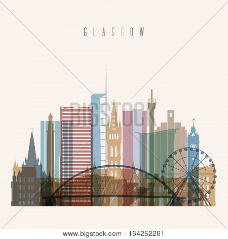 Transparent style Glasgow skyline detailed silhouette. Trendy vector illustration.