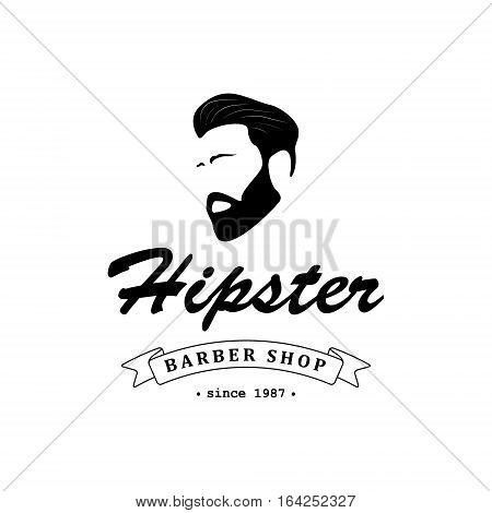 Logo for barber shop hair salon with hipster head and barber scissors. Vector Illustration.