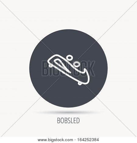 Bobsleigh icon. Two-seater bobsled sign. Professional winter sport symbol. Round web button with flat icon. Vector