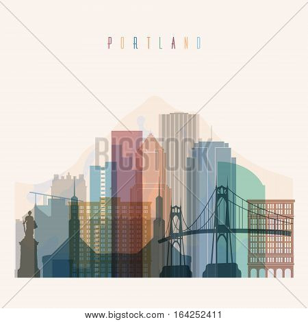 Transparent style Portland state Oregon skyline detailed silhouette. Trendy vector illustration.