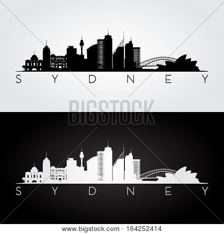 Sydney skyline and landmarks silhouette black and white design vector illustration.
