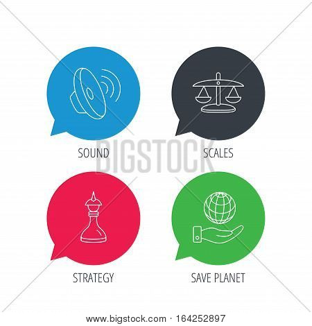 Colored speech bubbles. Strategy, sound and scales of justice icons. Save planet linear sign. Flat web buttons with linear icons. Vector