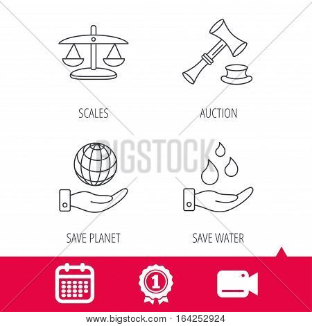 Achievement and video cam signs. Save nature, auction and scales of justice icons. Save planet linear sign. Calendar icon. Vector