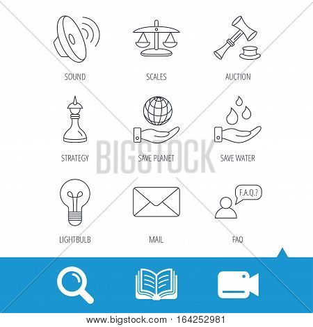 Strategy, auction and scales of justice icons. Save planet, water and lamp lightbulb linear signs. Faq and law hammer flat line icons. Video cam, book and magnifier search icons. Vector