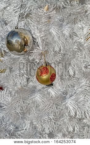 Close -up of very beautiful Christmas -tree decorations