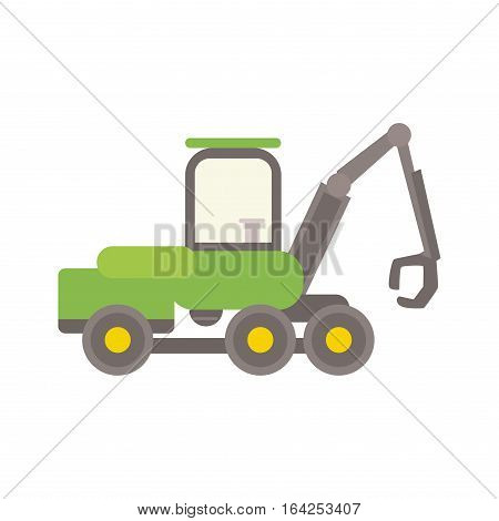 Agricultural tractor vector illustration. Wheel industrial sign farmer tire harvesting truck. Agronomics field machinery farming transportation.