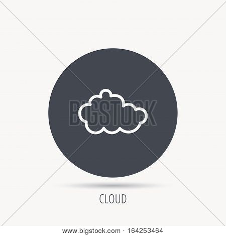 Cloud icon. Overcast weather sign. Meteorology symbol. Round web button with flat icon. Vector