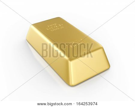 Gold bar on a white background. 3D illustration.