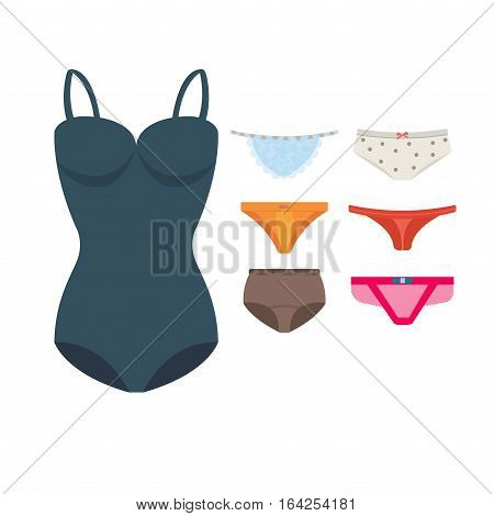 Underwear clothes for woman vector icon isolated for design. Elegance bikini line accessories. Beautiful body coat sensuality collection panties female textile.
