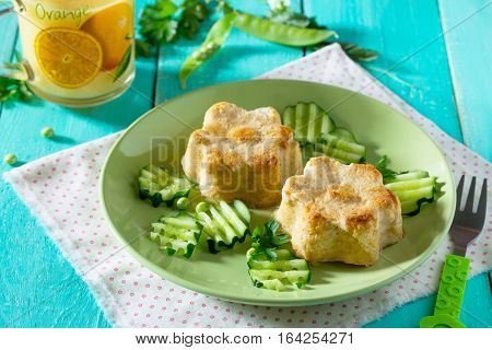 Dinner Or Lunch For Children - Roasted Meat Or Fish Souffle, Steam Cutlets. Food For Children.
