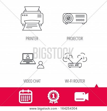 Achievement and video cam signs. Projector, printer and wi-fi router icons. Video chat linear sign. Calendar icon. Vector