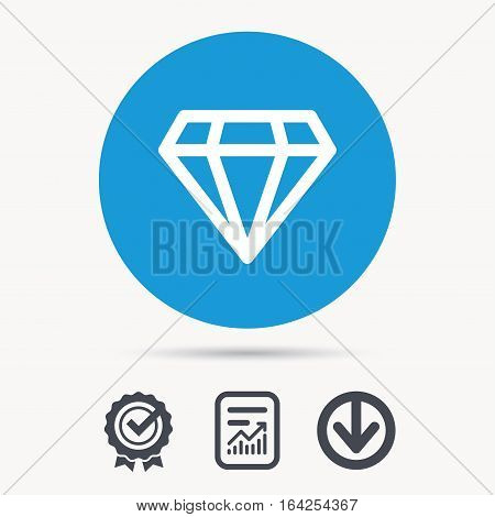 Diamond icon. Jewelry gem symbol. Brilliant jewel sign. Achievement check, download and report file signs. Circle button with web icon. Vector