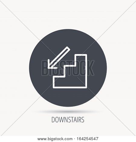 Downstairs icon. Direction arrow sign. Round web button with flat icon. Vector