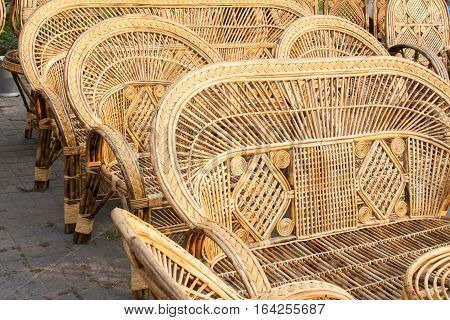 Cane furnitures sofas made of cane handicrafts on display during the Handicraft Fair in Kolkata - the biggest handicrafts fair in Asia.