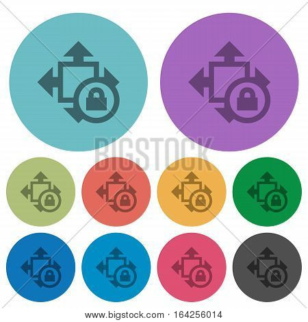 Size lock darker flat icons on color round background