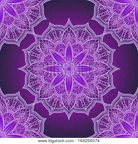 Vector Seamless Pattern Mandala Flower In Purple , Pink And Lilac Shades. Doodle Lace Mandala. Vecto