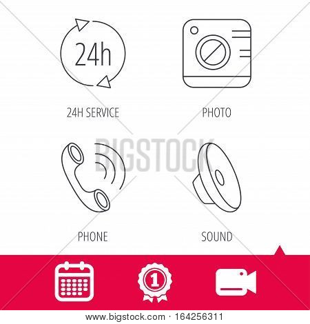 Achievement and video cam signs. Phone call, 24h service and sound icons. Photo camera linear sign. Calendar icon. Vector
