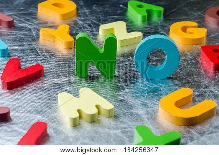 NO word with colourful alphabet made of wooden. Business Idea concept.