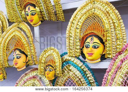 Colorful Chhau mask handicrafts on display during the Handicraft Fair in Kolkata earlier Calcutta West Bengal India. It is the biggest handicrafts fair in Asia.