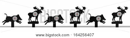 Different animals with target on white background