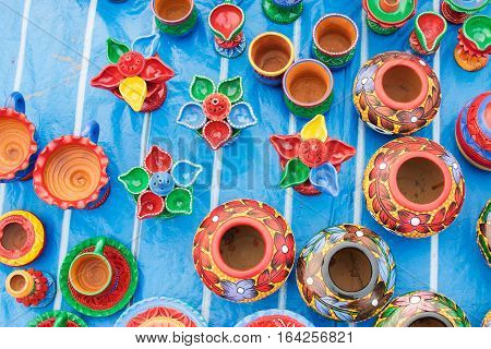 Colorful potteries made of clay handicrafts on display during the Handicraft Fair in Kolkata earlier Calcutta West Bengal India. It is the biggest handicrafts fair in Asia.