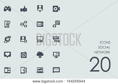 social network vector set of modern simple icons
