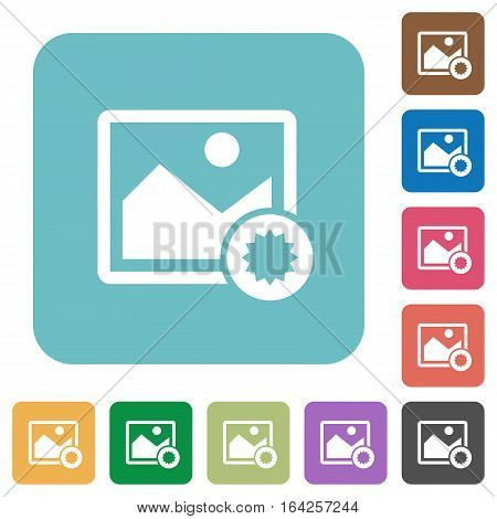 Authentic image white flat icons on color rounded square backgrounds