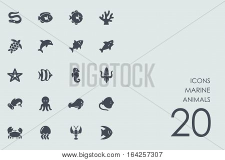 marine animals vector set of modern simple icons