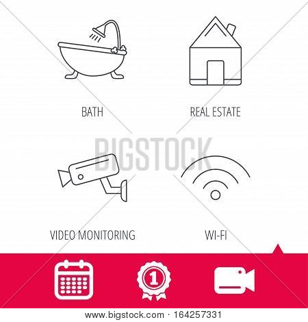 Achievement and video cam signs. Wifi, video camera and real estate icons. Bath linear sign. Calendar icon. Vector