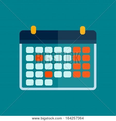 Calendar icon vector isolated graphic reminder element message symbol. Template shape office appointment binder schedule. Business organizer planning sign.