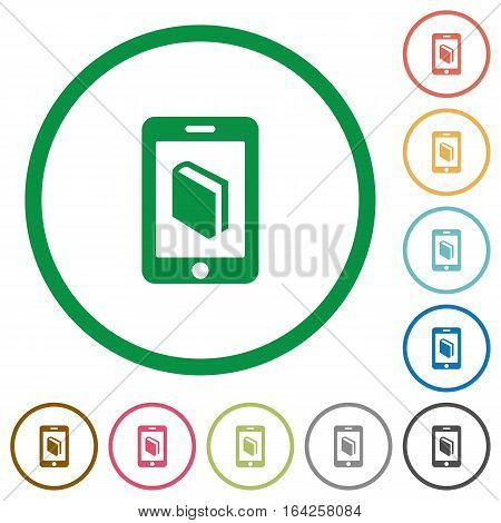 E-book flat color icons in round outlines on white background