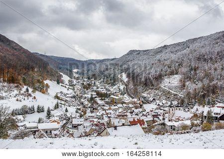 Bird's eye view of Wiesensteig (Baden-Wurttemberg Germany) in winter.