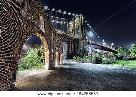 New York City Brooklyn Bridge With The Brooklyn Park