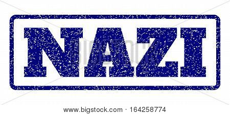 Navy Blue rubber seal stamp with Nazi text. Vector message inside rounded rectangular banner. Grunge design and scratched texture for watermark labels. Horisontal emblem on a white background.