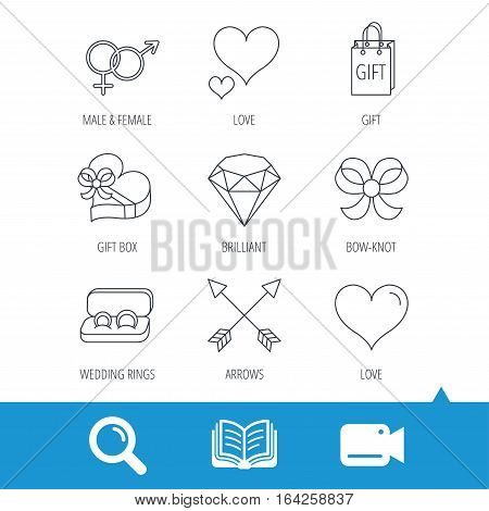 Love heart, gift box and wedding rings icons. Bow and engagement linear signs. Valentine amour arrows, brilliant flat line icons. Video cam, book and magnifier search icons. Vector