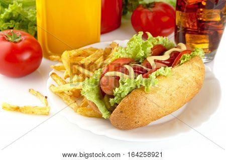 Hotdog With Lettuce,tomatoes And Cucumber On Plate On White