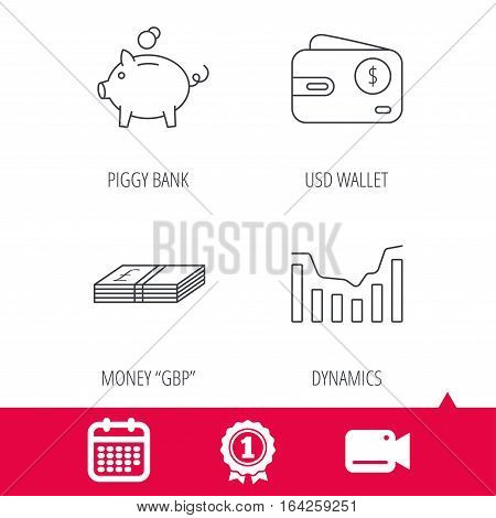 Achievement and video cam signs. Piggy bank, cash money and dynamics chart icons. USD wallet linear sign. Calendar icon. Vector