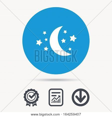 Moon and stars icon. Night sleep symbol. Achievement check, download and report file signs. Circle button with web icon. Vector