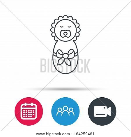 Newborn baby icon. Toddler with bow sign. Child wrapped in blanket symbol. Group of people, video cam and calendar icons. Vector