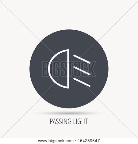 Passing light icon. Dipped beam sign. Round web button with flat icon. Vector
