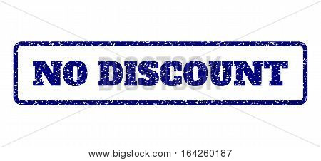 Navy Blue rubber seal stamp with No Discount text. Vector caption inside rounded rectangular banner. Grunge design and dirty texture for watermark labels. Horisontal sign on a white background.