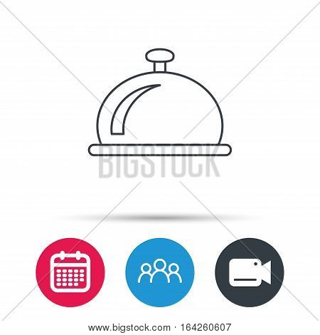 Reception bell icon. Hotel service sign. Group of people, video cam and calendar icons. Vector