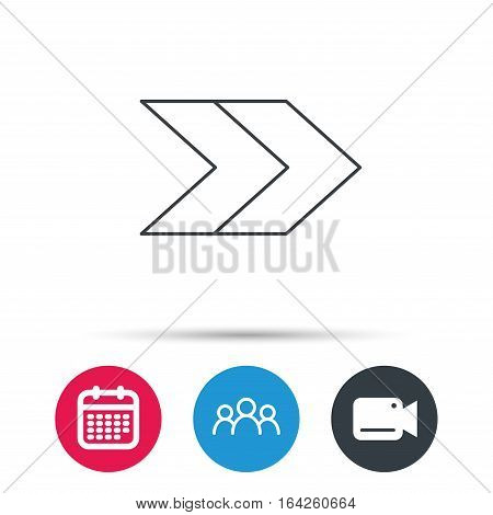 Right arrow icon. Next sign. Forward direction symbol. Group of people, video cam and calendar icons. Vector