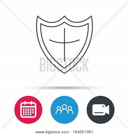 Shield icon. Protection sign. Royal defence symbol. Group of people, video cam and calendar icons. Vector