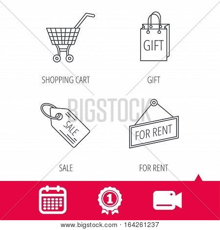 Achievement and video cam signs. Shopping cart, gift bag and sale coupon icons. For rent label linear sign. Calendar icon. Vector