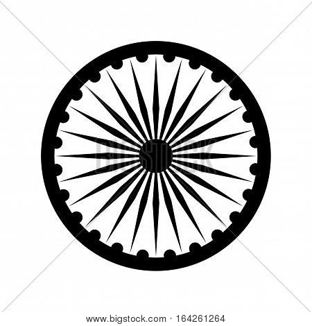 Dharma wheel, detail of Indian national flag. Black design element, isolated on white